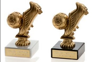 Football Boot And Ball Trophy Mounted On Marble Base